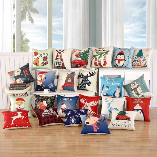 Home Decor Pillows 1Pcs 45x45cm Pillow Case Merry Christmas Decorations for Home Cartoon Elk Linen Decorative Pillows Cover Cushion Home Decor