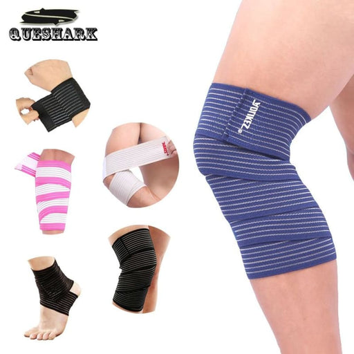 Compression knee 1Pcs 90/120/180*7.5cm Powerlifting Elastic Bandage Leg Compression Calf Sleeve Knee Support Strap Wraps Band Brace Sports Safety