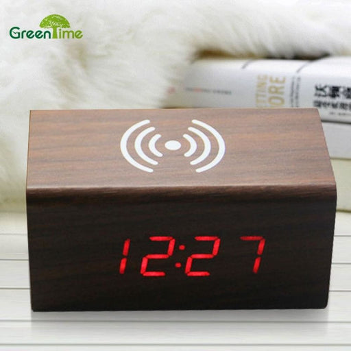 Wireless Charger 2018 Creative Wireless Charging Voice - activated LED Wood Clock Electronic Mute Alarm Clock Wooden Desk Clock