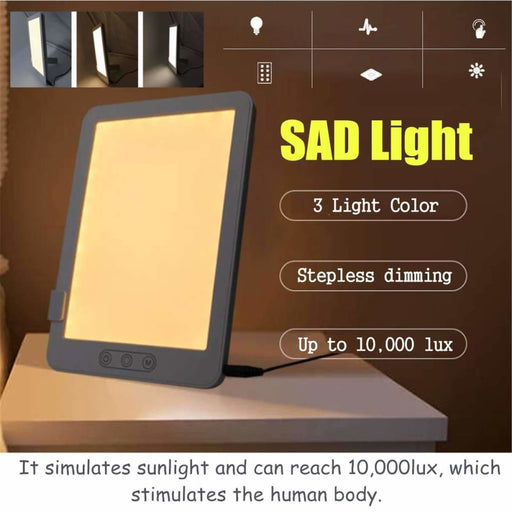 Day Light Lamps 3 Mode Portable LED SAD Night Light Pad Box Simulated Daylight Therapy Sun Lights Phototherapy Affective Disorder Cure Lamp