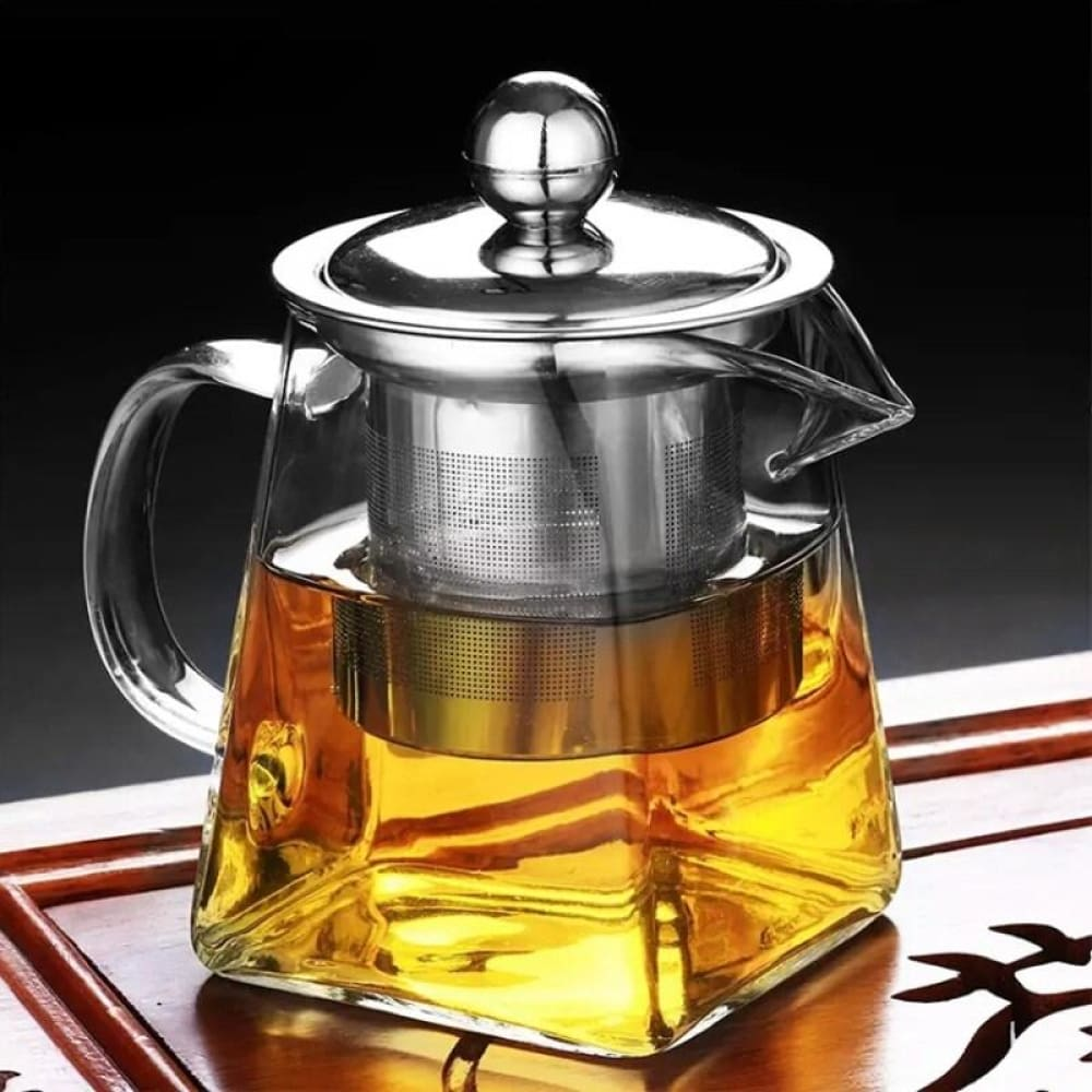 350Ml Heat Resistance Glass Teapot Home Office Flower Tea Pot Jug Container Clear Bottle With Infuser Filter Square Tea Set - Teapots