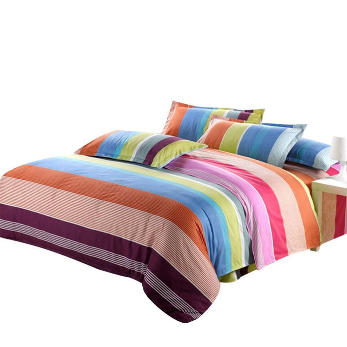 4 Pieces Microfiber Rainbow Bedding Sets Bed Sheet Duvet Cover And Pillow Cases - Bedding Sheets