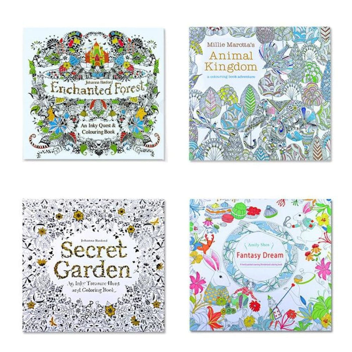 4pcs English Edition Secret Garden Fantasy Dream Animal Kingdom