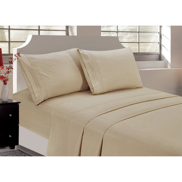 4Pcs Queen Home Decor Bedding Sheet Set Cream Color - Bedding Sheets