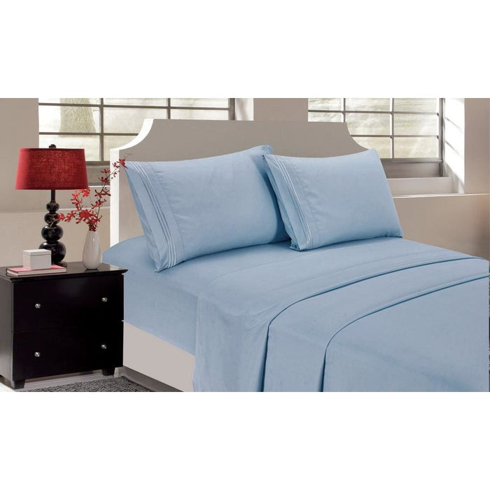 Bedding Sheets 4pcs Queen Home Decor Bedding Sheet Set Sky Blue