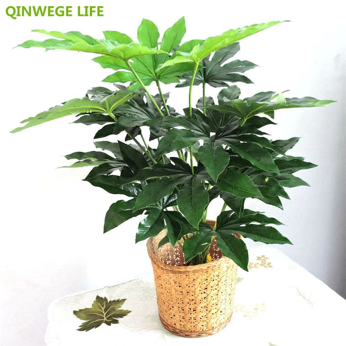 Office Décor 66cm Latex Artificial Evergreen Pachira Plant Tree in Wedding Home Beach Office Furniture Decor Green Branch Fake Foliage