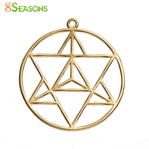 "Necklaces 8SEASONS Copper Merkaba Meditation Pendants Round gold-color Hollow 39mm(1 4/8"") x 36mm(1 3/8""), 1 Piece"