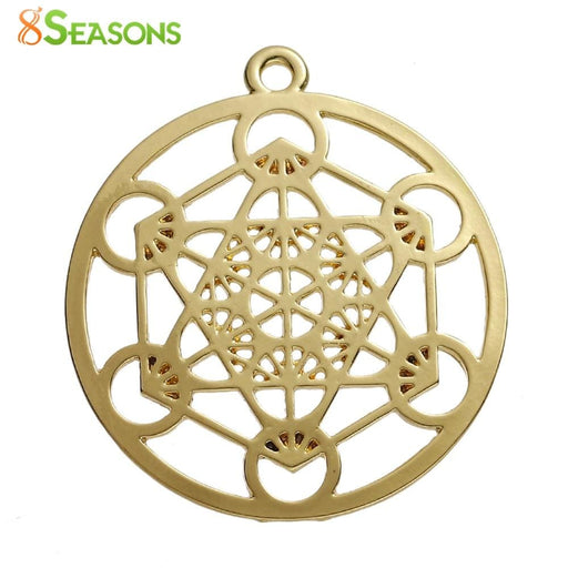 "Necklaces 8SEASONS Zinc Based Alloy Merkaba Meditation Pendants Round gold-color Hollow 44mm(1 6/8"") x 40mm(1 5/8""), 3 PCs"