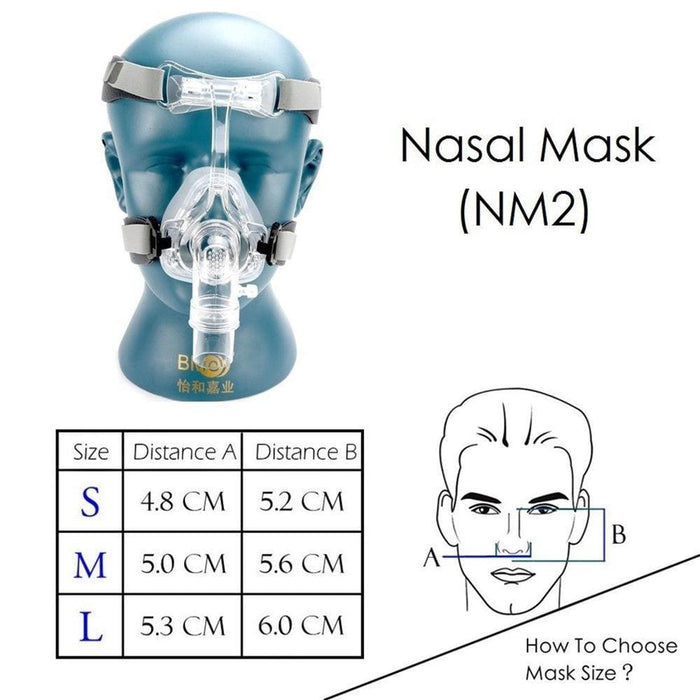 Bmc Nm2 Nasal Mask For Masks Interface Sleep & Snoring Strap W/headgear - Ear Plugs & Anti Snoring
