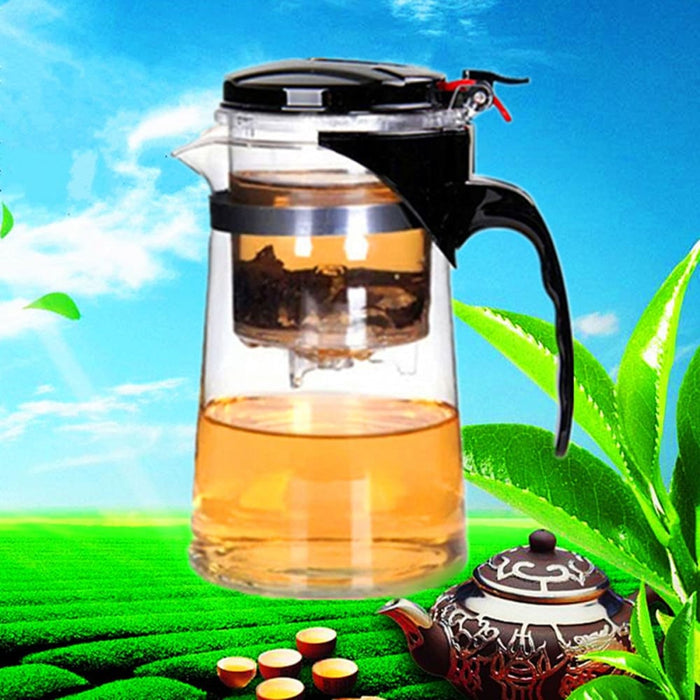Teapots Clear Glass Tea Coffee Maker Mug Pot With Filter Infuser Straight 500ml 17Oz