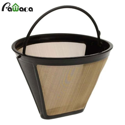 Coffee Cone Shape Permanent Coffee Filter 10-12 Cup Washable Reusable Coffee Filter Mesh With Handle Cafe Coffee Maker Machine Tea Tool