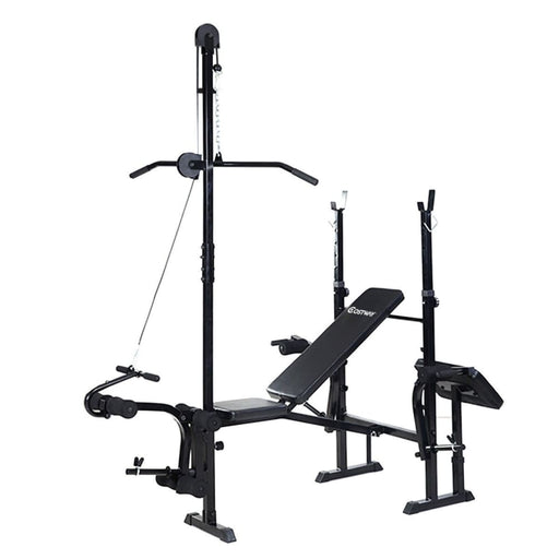 Strength Costway Adjustable Weight Lifting Flat Bench Rack Set Fitness Exercise Body Workout