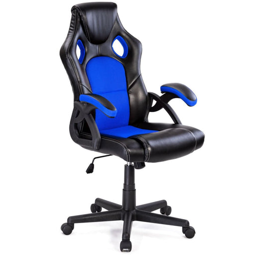 Office Chairs Costway PU Leather Executive Bucket Seat Racing Style Office Chair Computer Desk Task