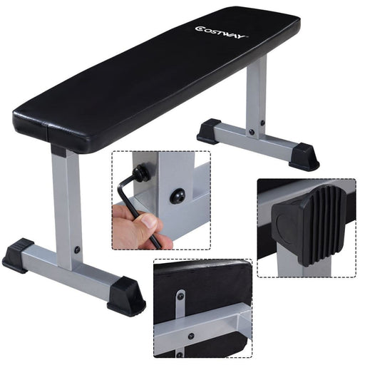 Strength Costway Sit Up Bench Flat Crunch Board AB Abdominal Fitness Weight Exercise