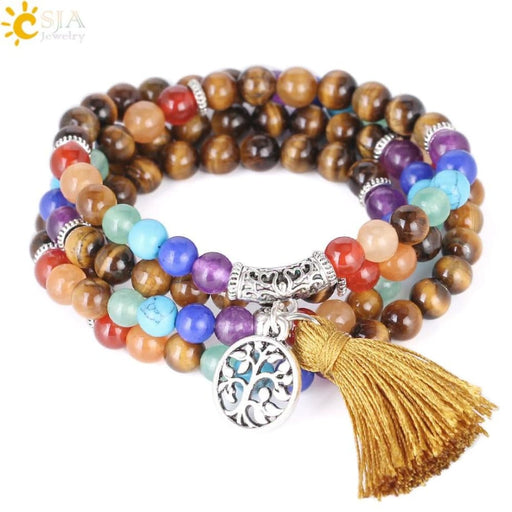 Bracelets CSJA Natural Gem Stone Tiger Eye 108 Beads Multilayer Wrap Bracelets 7 Chakra Healing Mala Meditation Prayer Reiki Jewelry E662