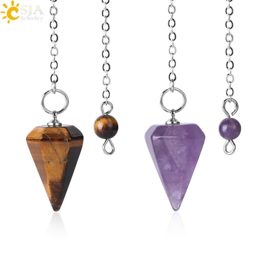 Necklaces CSJA Small Size Reiki Pendulum Natural Stone Amulet Healing Crystal Pendant Meditation Hexagonal Pendulums for Men Women F366
