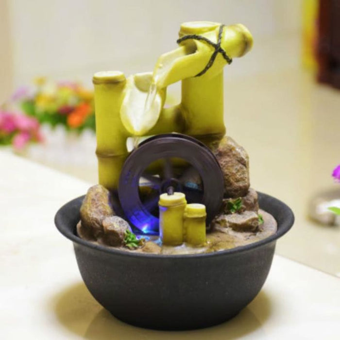 Waterfalls Decorative Indoor Water Fountains Resin Crafts Gifts Feng Shui Wheel Desktop Water Fountain Home Office Teahouse Decoration E $