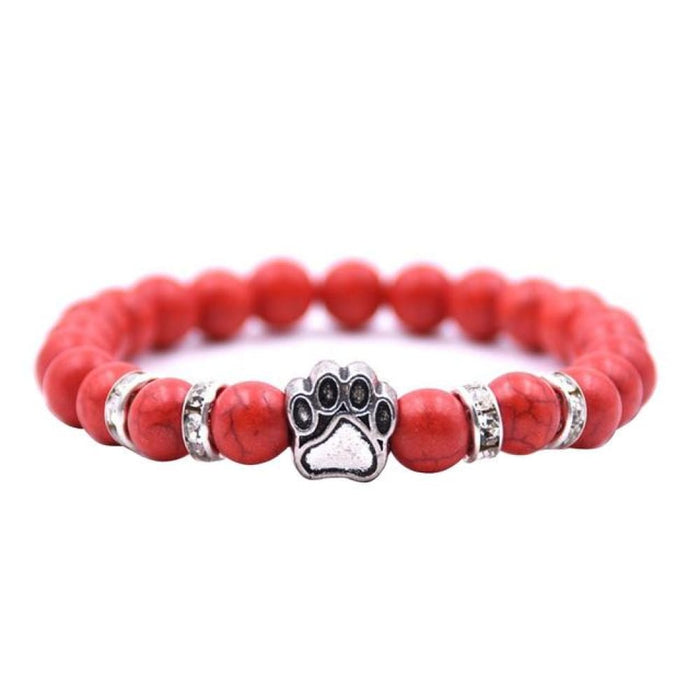 Bracelets Fashion Stone Bead Yoga Meditation Cat Dog Hand Paw Elastic Rope Bracelet Unisex Women Men Jewelry Gift