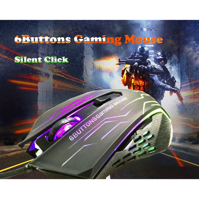 Forka Silent Click Usb Wired Gaming Mouse 6 Buttons 3200Dpi Mute Optical Computer Mouse Mice For Pc Laptop Notebook Game Gamer - Mice