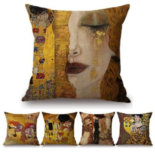 Gold Luxury Decorative Oil Painting Home Decorative Pillow Case Cover Gustav Klimt Gallery Collection Sofa Chair Cushion Cover - Home Decor