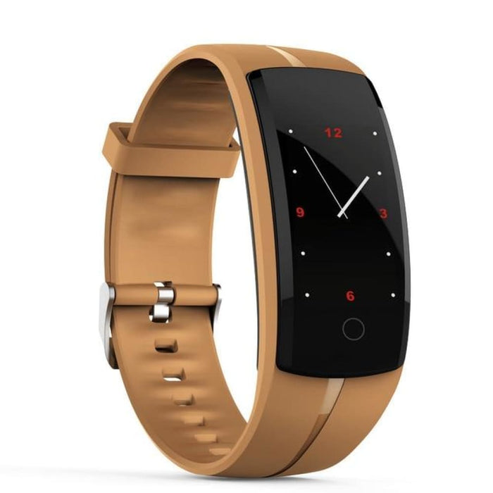 Hold Mi Qs100 Smart Bracelet Smart Watch Blood Pressure/heart Rate Monitor Fitness Tracker Bracelet Android Ios Smart Wristband - Coffee -