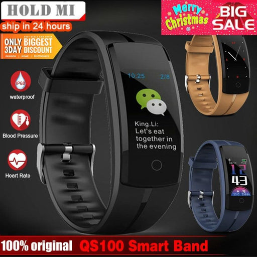 Hold Mi Qs100 Smart Bracelet Smart Watch Blood Pressure/heart Rate Monitor Fitness Tracker Bracelet Android Ios Smart Wristband - Sleep