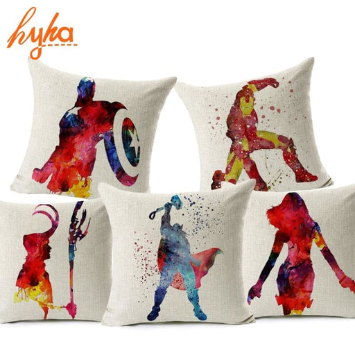 Hyha Marvel Comics Super Hero Cushion Cover Captain America Hawkeye The Avengers Home Decorative Pillow Cover For Sofa Cojines - Home Decor