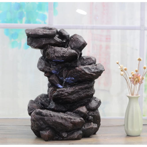 Indoor Water Fountain Tabletop Waterfall With Led Light Table Rock Zen Decor - Waterfalls