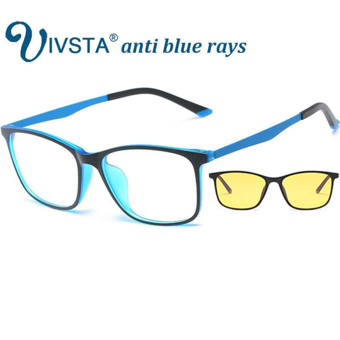 Ivsta Anti Blue Rays Gaming Glasses Men For Computer Phone Flexible Tr90 Orange Blue Super Light Thin Square Custom Grade Degree - Blue
