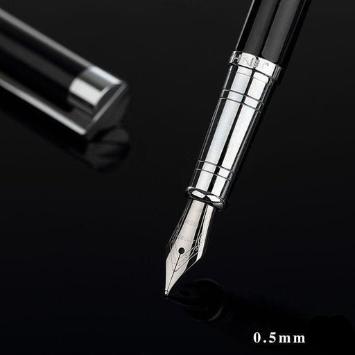 Fountain Pens Jinhao Classic Black and Silver Fountain Pen with 0.5mm Iridium Nib The Best Business Gift Pen Metal Ink Pens Free Shipping
