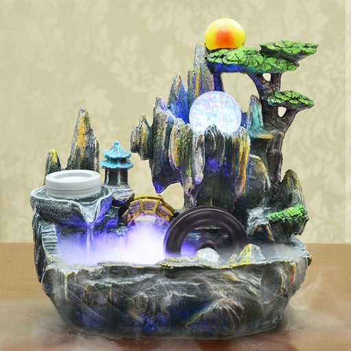 Kiwarm Indoor Water Fountains Indoor Table Bench Top Water Feature Fountain Ornament For Home Office Craft Desk Decoration - Waterfalls