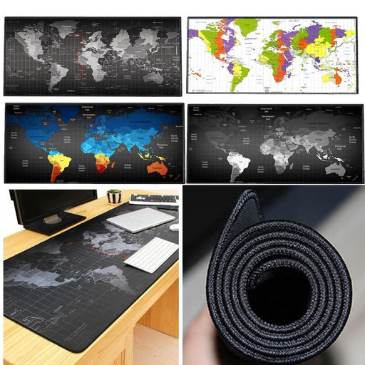Large Gaming Mouse Pad Mat World Map Xxl Stitched Edges Waterproof Wide & Long Rubber Base Mousepad Keyboad Mat 35.4 X 15.7 Inch - Office