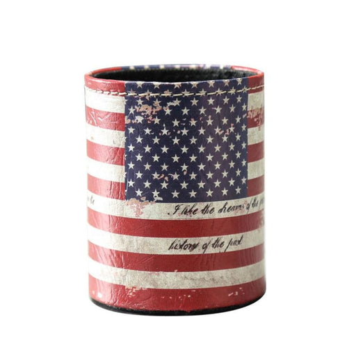 Linkwell Antique Rustic Old Look Vintage Usa American National Flag Pu Leather Pencil Pen Holder Desk Organizer Storage Box Case - Office