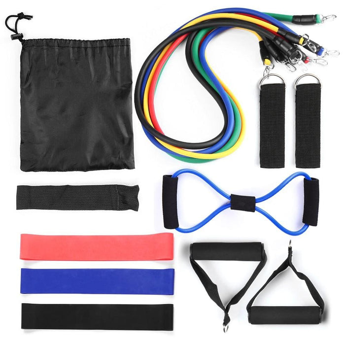 Lixada 15Pcs Resistance Bands Set Workout Fintess Exercise Rehab Bands Loop Bands Tube Bands Door Anchor Ankle Straps Cushioned Handles With
