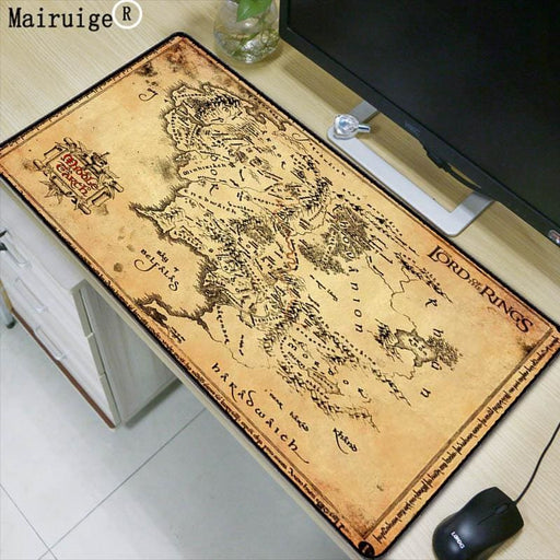 Office Décor Mairuige lord of the rings map Extended Gaming Mouse Pad Mat Stitched Edges Waterproof Wide & Long Rubber Mousepad Keyboad Mat