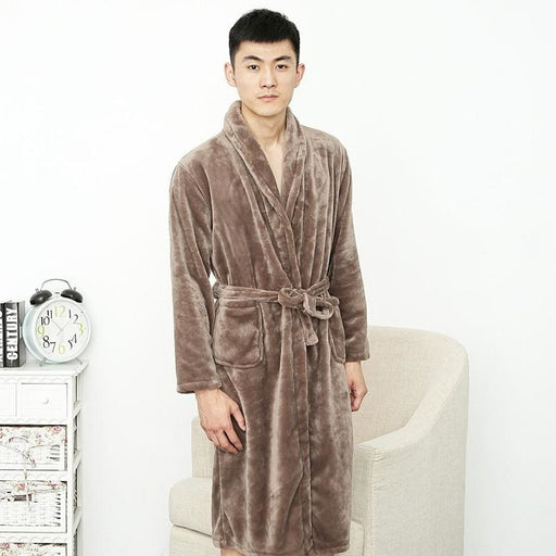 Men's Sleep Wear Men Robes nightgowns Autumn winter Flannel thermal warm couple lovers thicken male home sleep wear pajamas