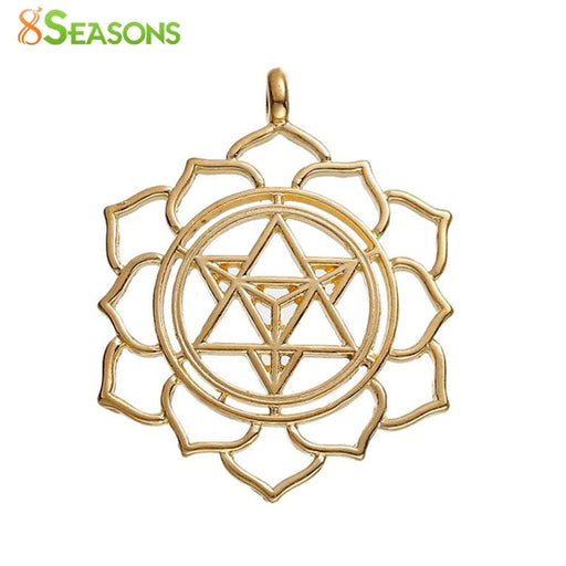 "Necklaces Merkaba Meditation Pendants Round gold-color Hollow 40mm(1 5/8"") x 31mm(1 2/8""),"