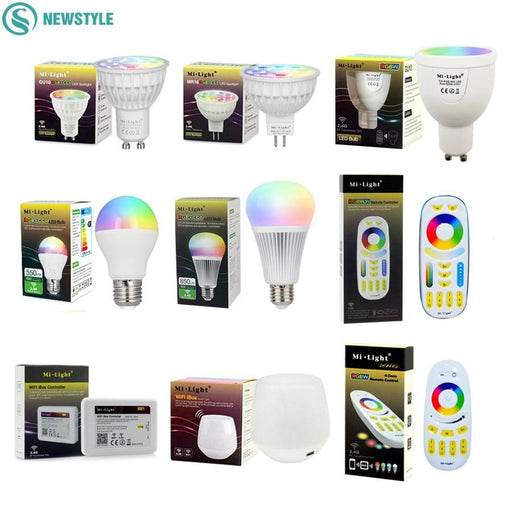 Bluetooth Light Bulbs Mi Light Dimmable Led Bulb 4W 5W 6W 9W E27 MR16 GU10 RGBW RGBWW led Lamps Wireless Wifi Controller Box 2.4G RF Remote Controller