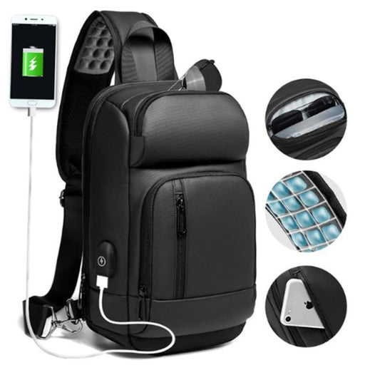 Computer Bags NIGEER Black Chest Pack Men Casual Shoulder Crossbody Bag USB Charging Chest Bag Water Repellent Travel Messenger Bag Male n1820