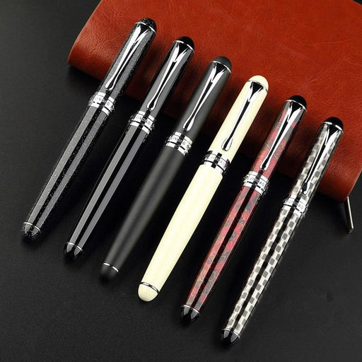 Fountain Pens Noble JINHAO X750 fountain pen all total 15 colors with gift pen pouch Thick metal ink pen free shipping