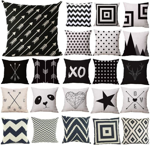 Pillow Case Black And White Pattern Pillowcase Cotton Linen Printed 18X18 Inches Geometry Euro Pillow Covers Free Shipping - Home Decor