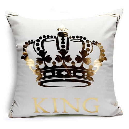 Hyha KING&QUEEN Bronzing Cushion Cover LOVE Kiss Cotton Polyester Geometric Printed Lips Home Decorative Pillow Cover Pillowcase