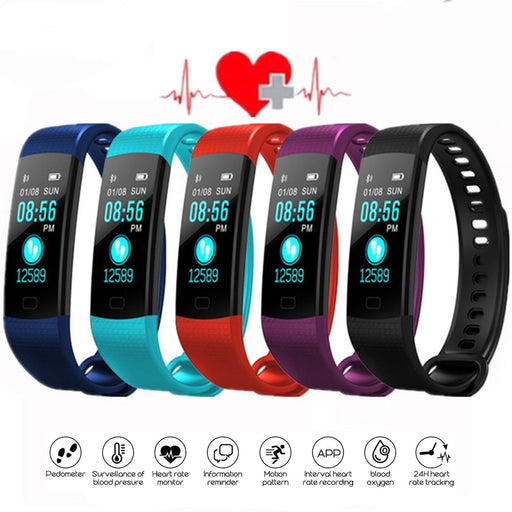 Bluetooth Smart Bracelet Color Screen Y5 Smartband Heart Rate Monitor Blood Pressure Measurement Fitness Tracker Smart Watch Men
