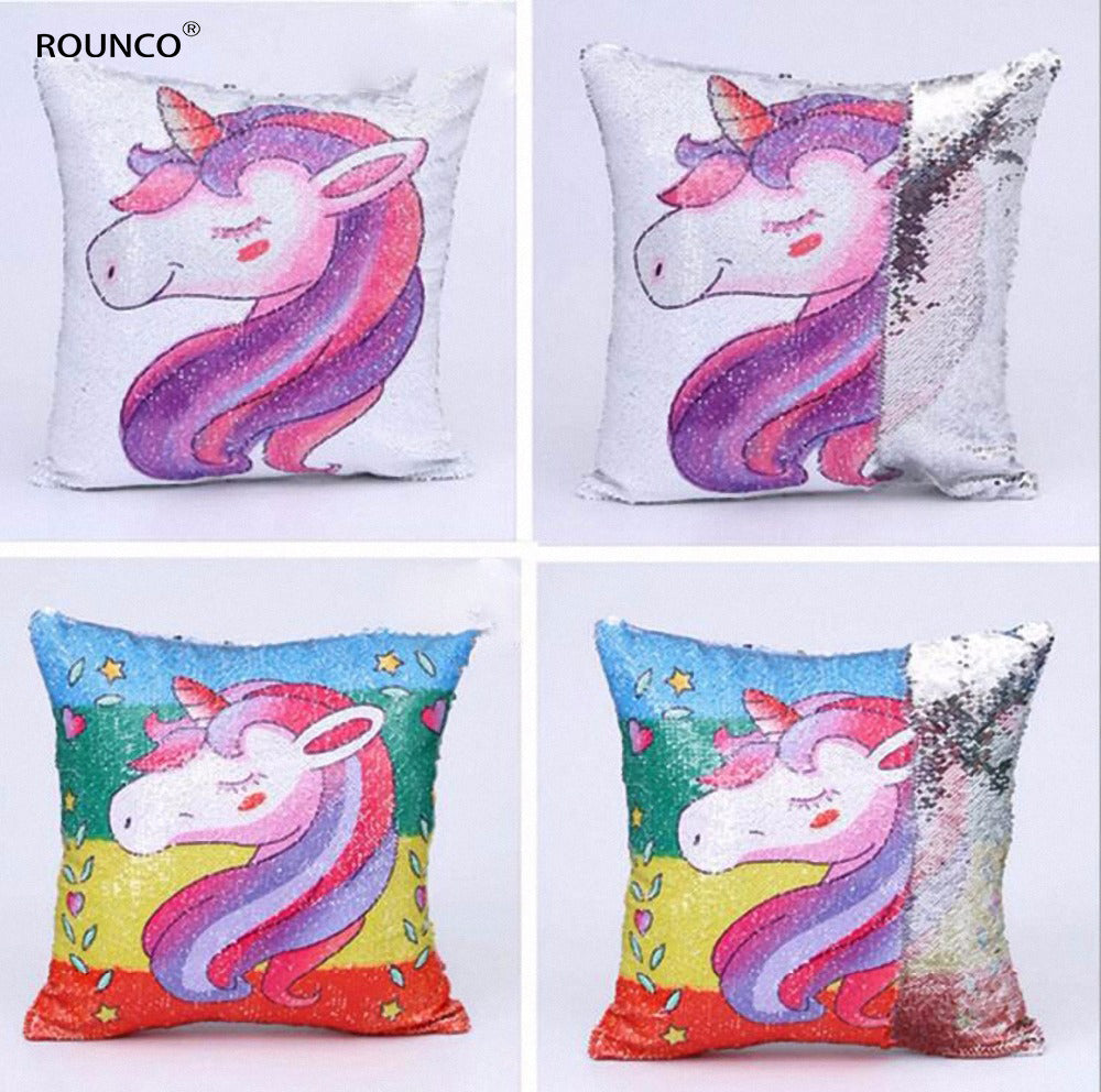 ROUNCO boutique, unicorn, sequins, pillows, home furnishing, cushions, beds, chairs, pillowcases, 40*40