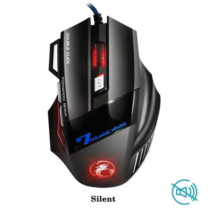 Professional Wired Gaming Mouse 5500 Dpi Adjustable 7 Buttons Cable Usb Led Optical Gamer Mouse For Pc Computer Game Mice X7 - Silent /
