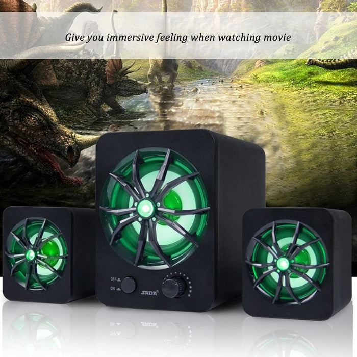 Computer Speakers SADA D-207 Computer Speaker USB Wired Combination Speaker Colorful LED Bass Stereo Music Player Subwoofer Speaker for Desktop Laptop Notebook Tablet PC Smart Phone