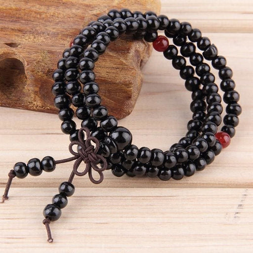 Bracelets Sandalwood Buddhist Meditation 6mm*108 Prayer Bead Mala Bracelet/Necklace Black