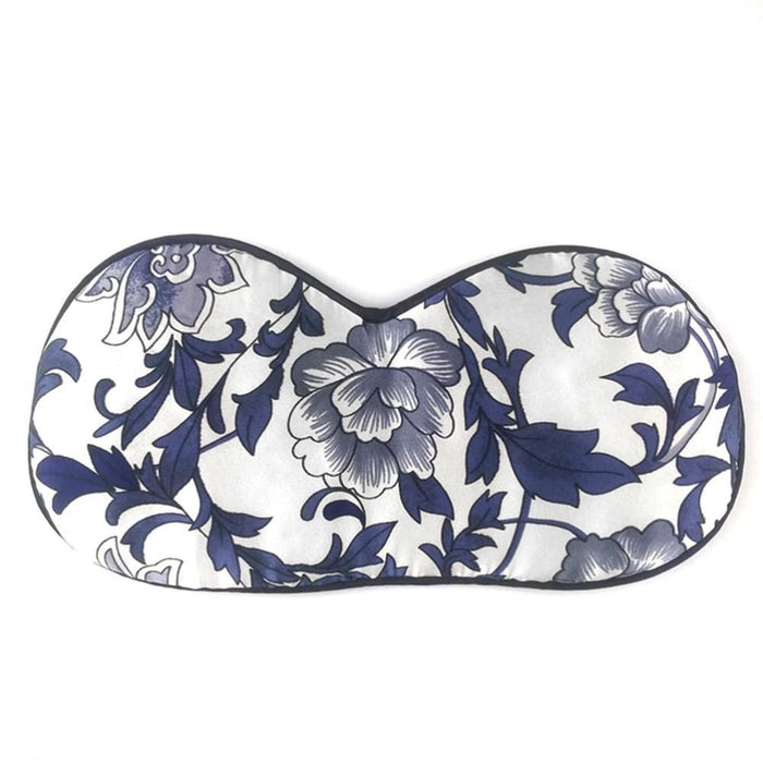 Silk Filled Sleep Eye Mask Cover Large Eyeshade Blindfold For Sleep Nap Meditation - Blue And White Porcelain - Sleep Masks