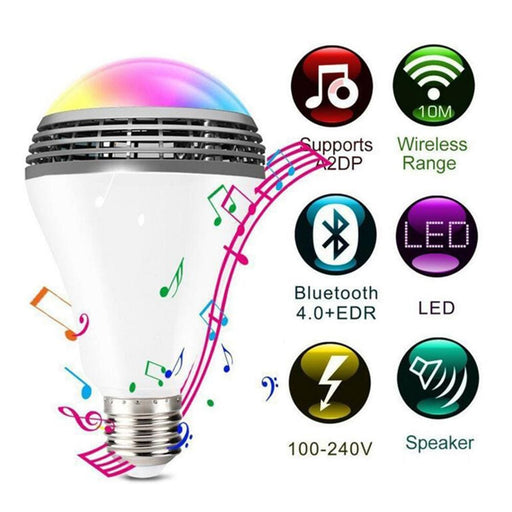 Smart Rgb Bulb Bluetooth 4.0 Audio Speakers Lamp Dimmable E27 Led Wireless Music Bulb Light Color Changing Via Wifi App Control - Bluetooth