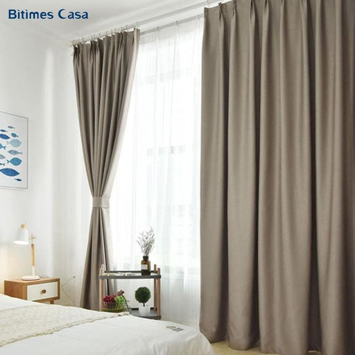 Bedroom Curtains Solid Color Heavy Weight Blackout Windows Curtain Greay Gravity Double Layer Spun High Shading For Living Room Bedroom 2018 New
